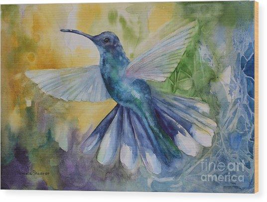 Blue Chitter Wood Print