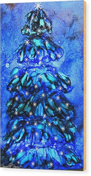 Blue Christmas Tree Alcohol Inks  Wood Print