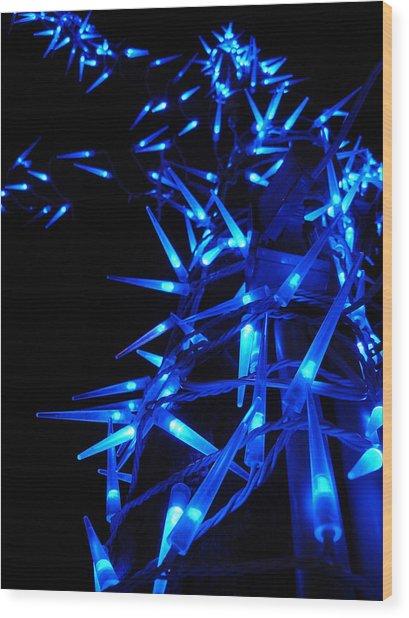 Blue Christmas Tree Wood Print by Michel Mata