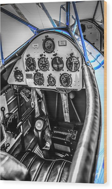 Blue Cockpit Wood Print