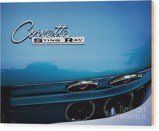 Blue Corvette Sting Ray Rear Emblem Wood Print