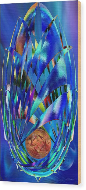 Blue Cosmic Egg - Abstract Wood Print