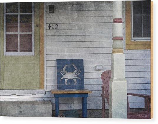 Blue Crab Chair Wood Print