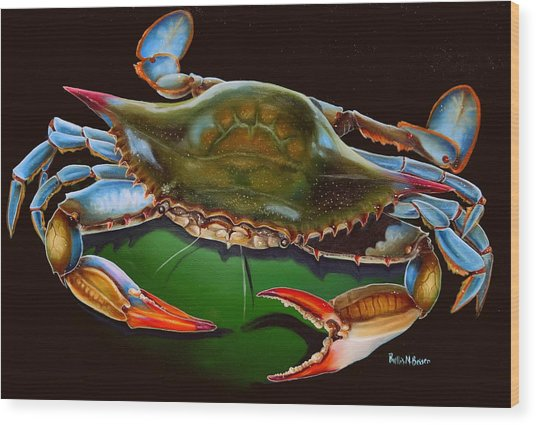 Blue Crab Open Claw Wood Print