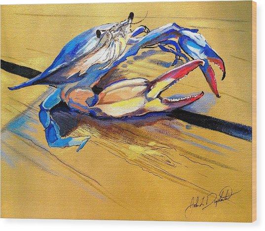 Blue Crabbie  Wood Print