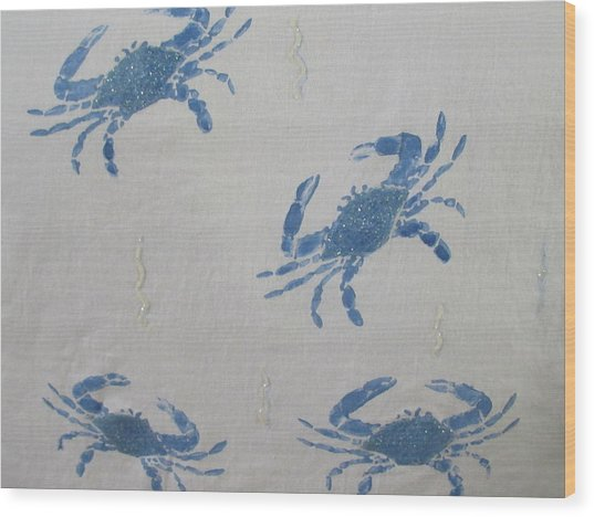 Blue Crabs On Sand Wood Print