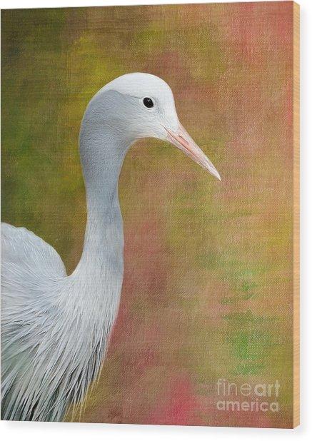 Blue Crane Wood Print