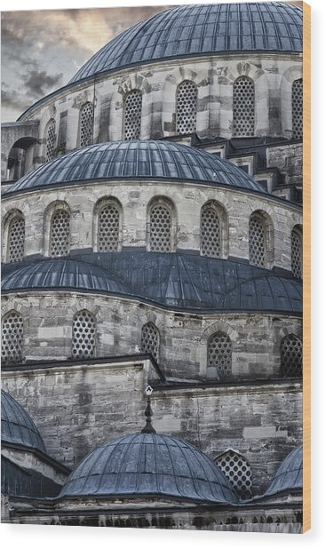 Blue Dawn Blue Mosque Wood Print