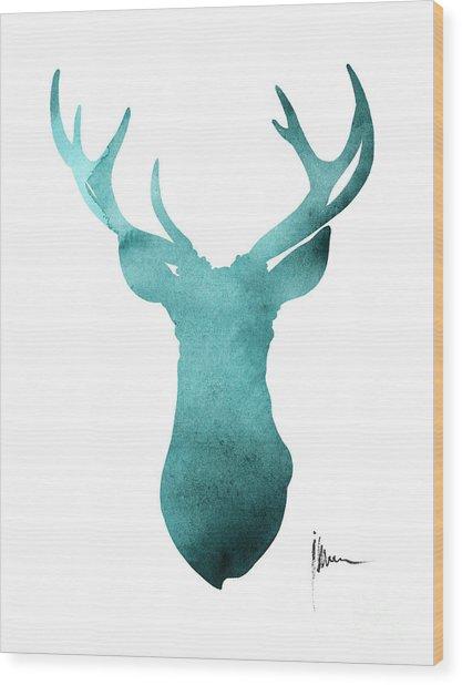 Blue Deer Antlers Watercolor Art Print Painting Wood Print