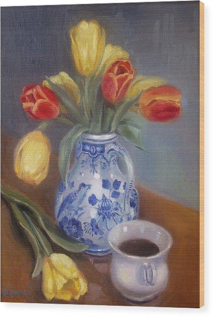 Blue Delft Wood Print