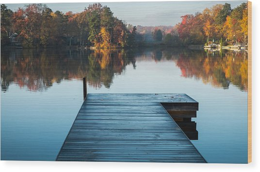 Blue Dock Wood Print