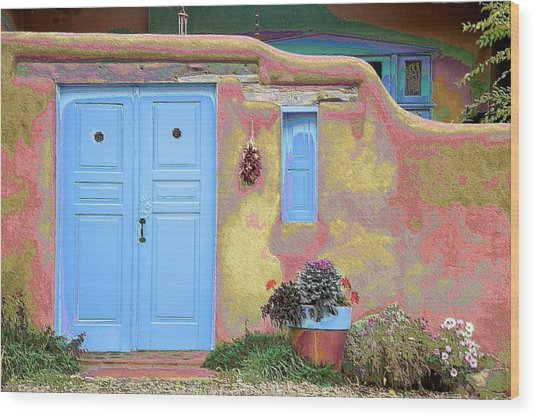 Blue Door In Ranchos Wood Print