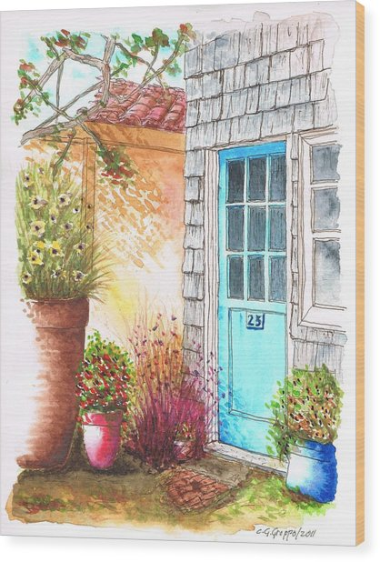 Blue Door In Venice Beach, California Wood Print