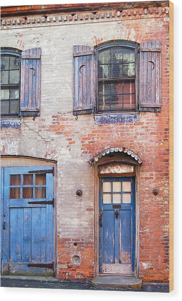 Blue Door Red Wall Wood Print