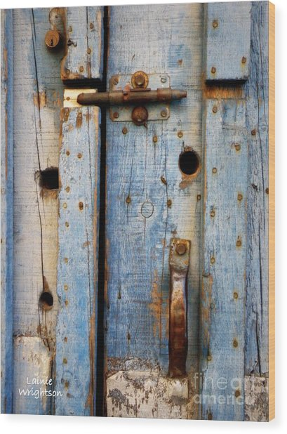 Blue Door Weathered To Perfection Wood Print