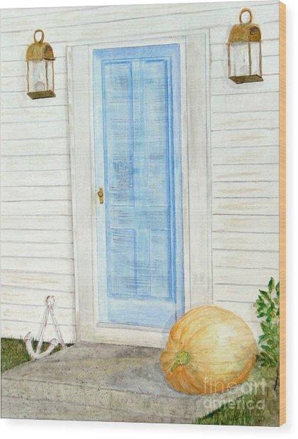 Blue Door With Pumpkin Wood Print