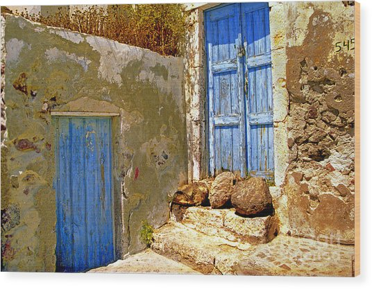Blue Doors Of Santorini Wood Print