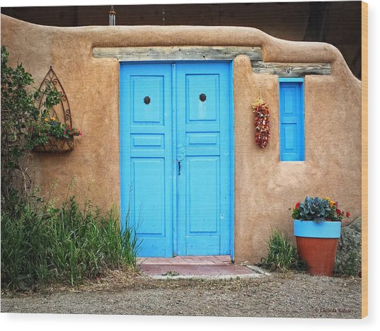 Blue Doors Of Taos Wood Print