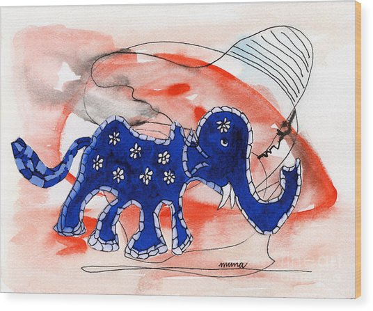Blue Elephant In A Museum Wood Print