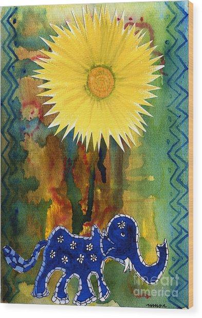 Blue Elephant In The Rainforest Wood Print