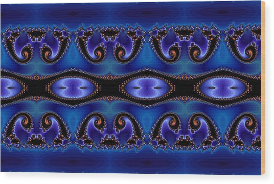 Blue Energy Abstract Wood Print by Sabre Tooth