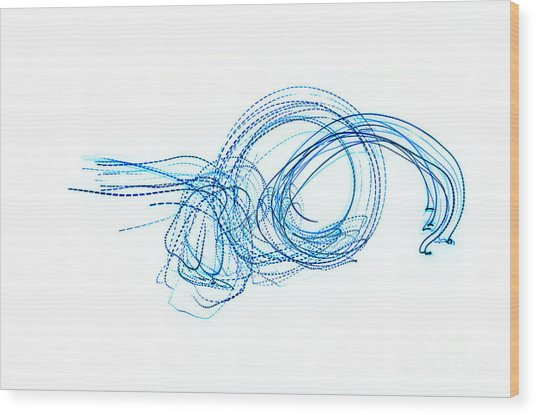 Blue Escargot Abstract Wood Print by George Zhouf
