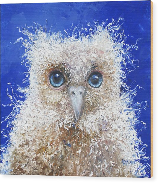 Blue Eyed Owl Painting Wood Print