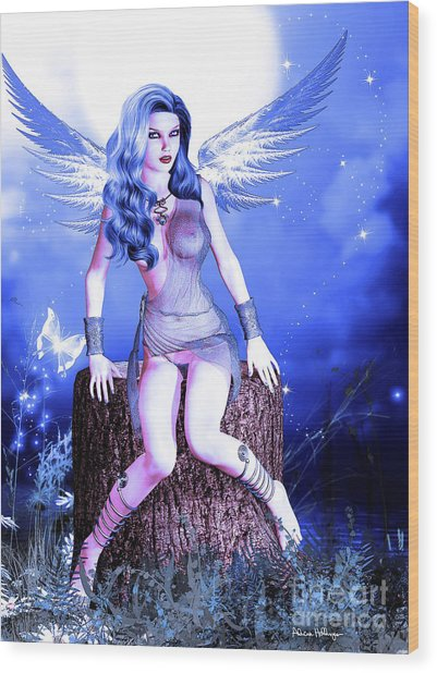 Blue Fairy Wood Print