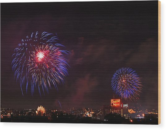 Blue Fireworks Over Domino Sugar Wood Print