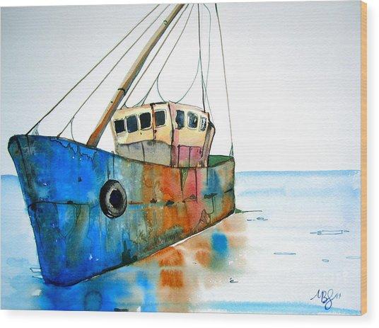 Blue Fishing Boat Wood Print by Maya Simonson
