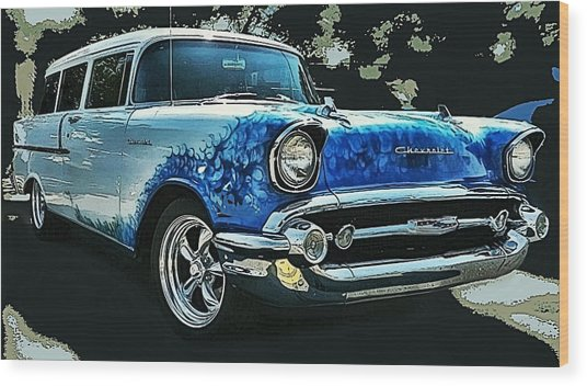 Blue Flames '57 Wood Print