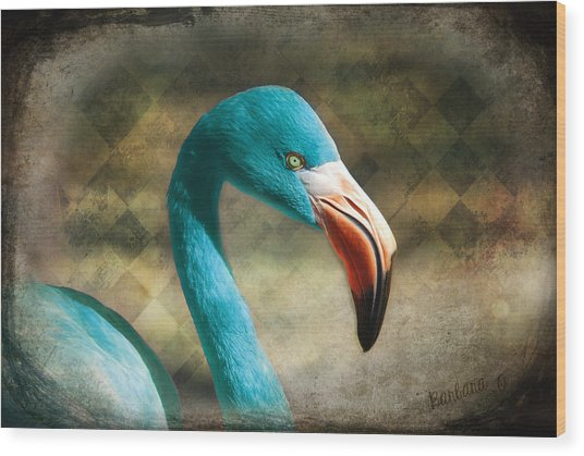 Blue Flamingo Wood Print
