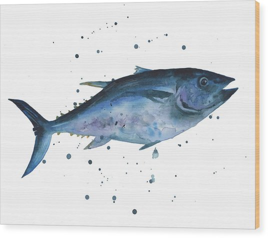 Blue Flash Tuna Wood Print