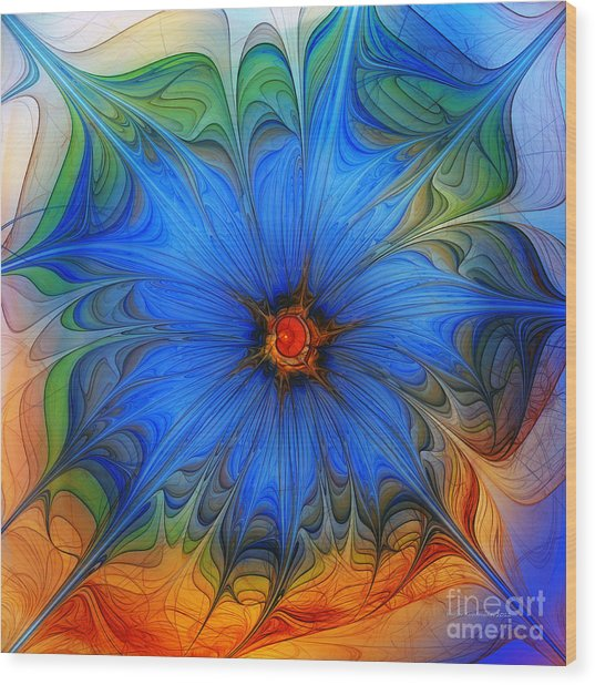 Blue Flower Dressed For Summer Wood Print