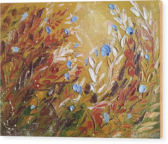 Blue Flowers Abstract Painting  Wood Print