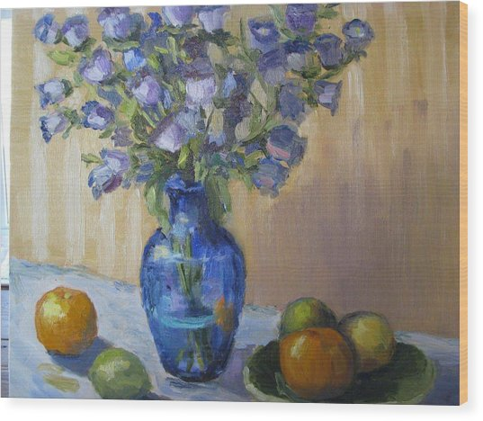 Blue Flowers And Fruit Wood Print
