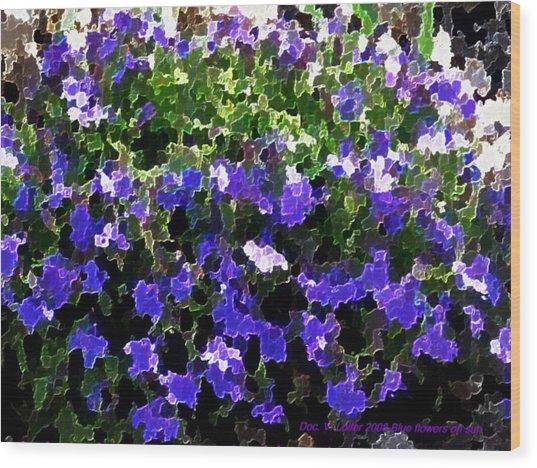 Blue Flowers On Sun Wood Print
