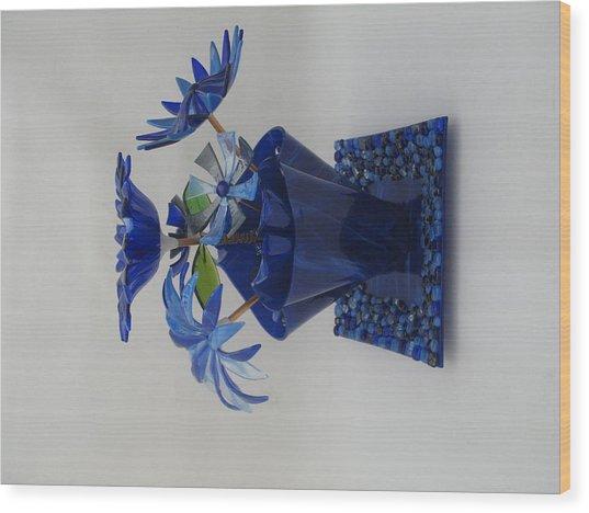 Blue Flowers Wood Print by Steven Schramek