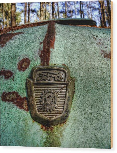 Blue Ford Truck Hood Wood Print
