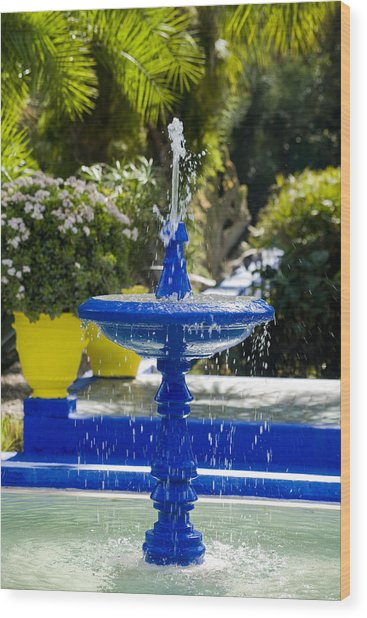 Blue Fountain Wood Print