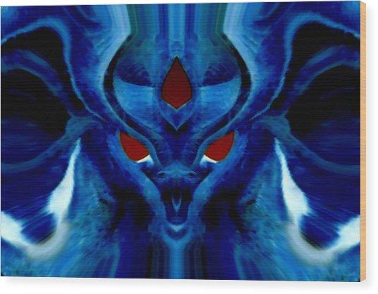 Blue Fox Wood Print