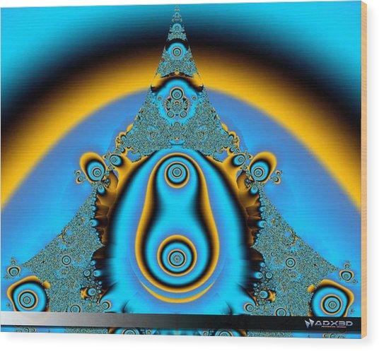Blue Fractal 01 Wood Print