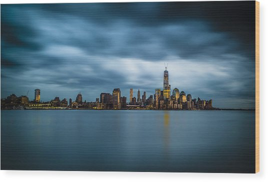 Blue Freedom Tower Wood Print by Chris Halford