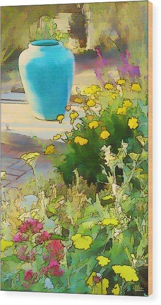 Blue Garden Pot Wood Print
