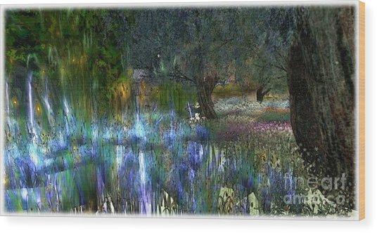 Blue Garden Wood Print