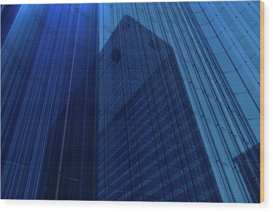 Blue Glass Building Wood Print by Mmdi