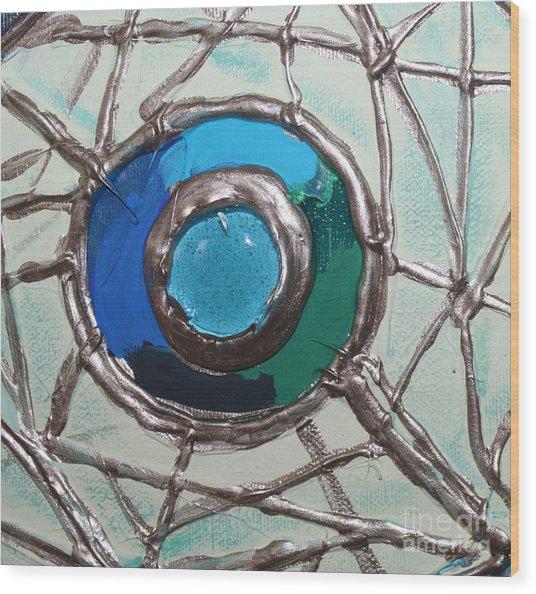 Blue Green And Gold Circle Wood Print