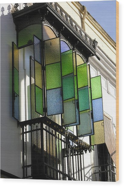 Blue-green-gold Windows In Cordoba Wood Print by Jacqueline M Lewis