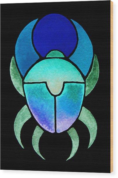 Blue Green Scarab Wood Print