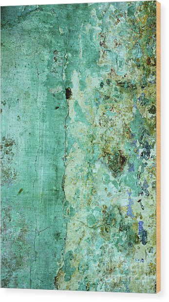 Blue Green Wall Wood Print